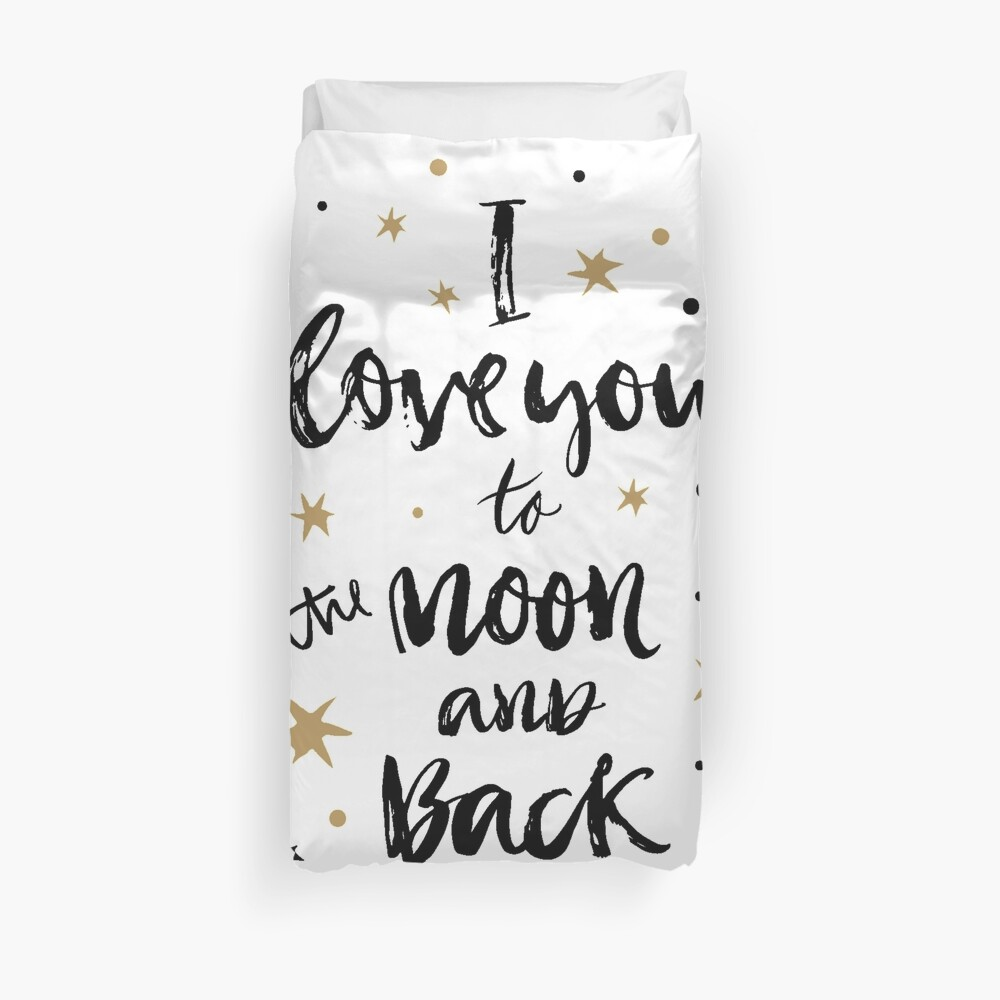 I Love You to the Moon and Back with Gold and Black Stars Duvet Cover