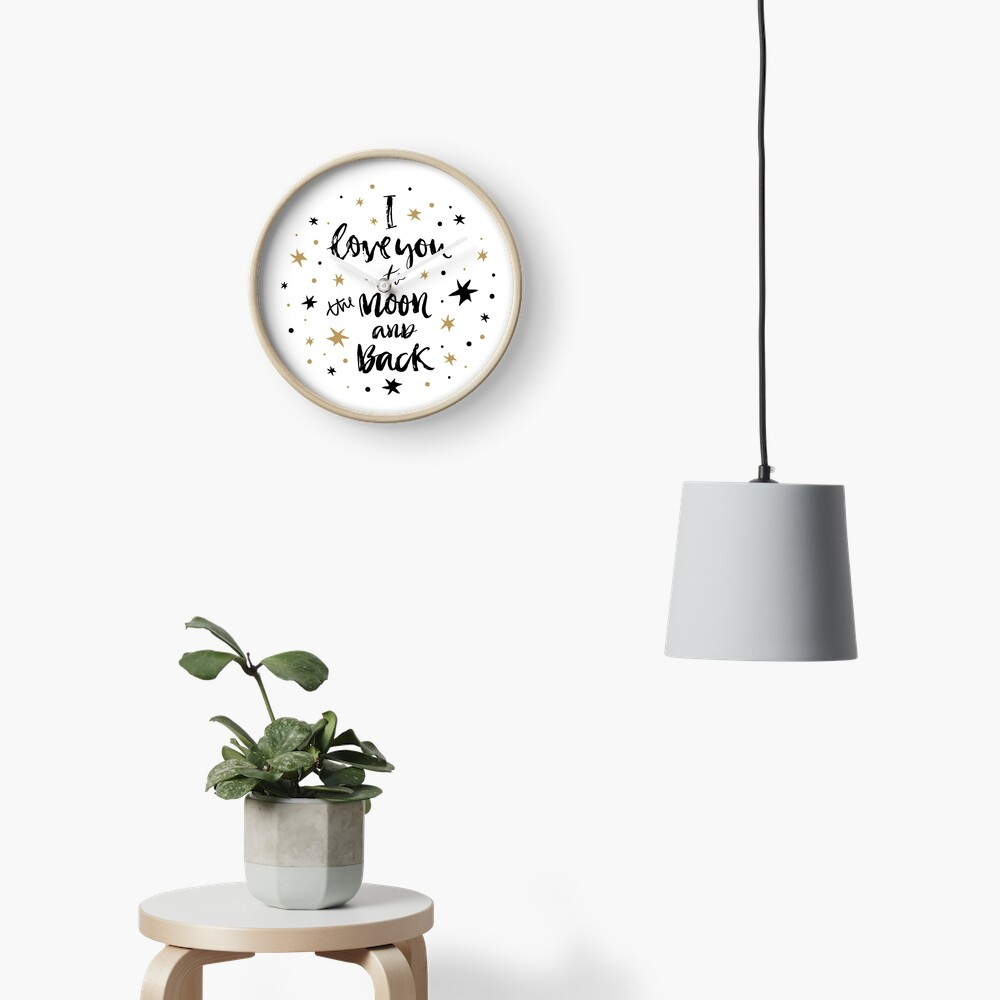 I Love You to the Moon and Back with Gold and Black Stars Clock