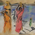 Women carrying water from Pushkar Lake by Travelwithmyart