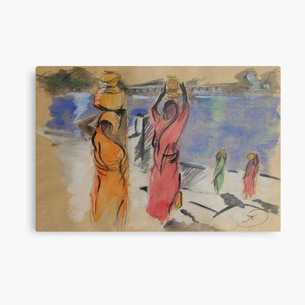Women carrying water from Pushkar Lake Metal Print