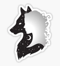 She Wolf Woman and Wolf with Moon and Stars Sticker