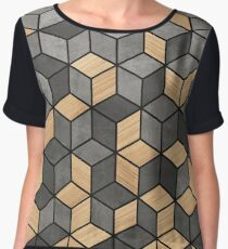 Concrete and Wood Cubes Chiffon Top