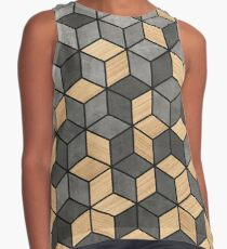 Concrete and Wood Cubes Contrast Tank