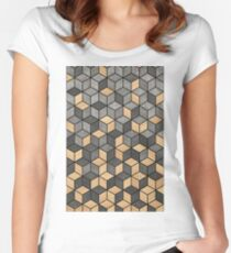 Concrete and Wood Cubes Women's Fitted Scoop T-Shirt