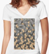 Concrete and Wood Cubes Women's Fitted V-Neck T-Shirt