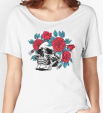 Skull with Red Roses Women's Relaxed Fit T-Shirt