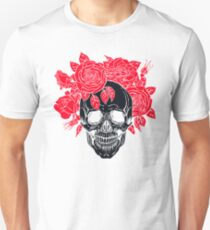 Vintage Black Skull with Red Roses T-Shirt