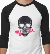 Vintage Black Skull with Pink Rose T-Shirt