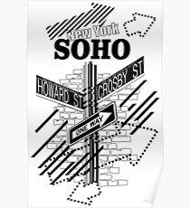 SoHo New York - Black on White Poster