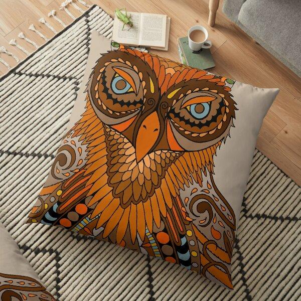 Owl - brown orange Floor Pillow