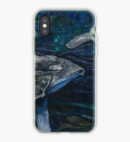 The Deep - Humpback Whales Embroidery - Textile Art iPhone Case