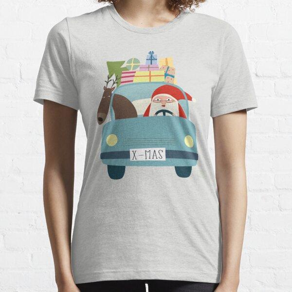 Weihnachtsmann und Rentier im Auto Essential T-Shirt