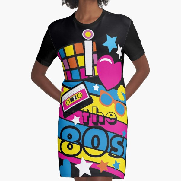 I love the 80s! Cool Neon Pop Culture Shirt & Gifts Graphic T-Shirt Dress