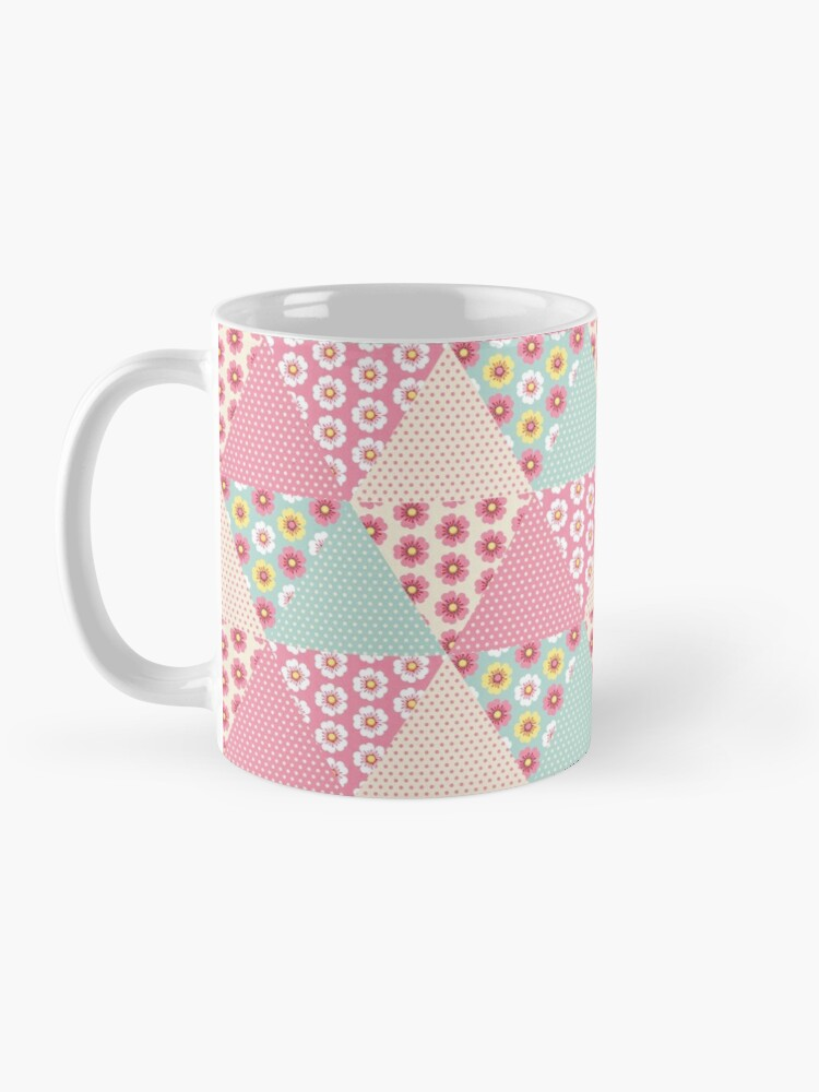 Alternate view of Spring flowers triangle patchwork quilt Mug