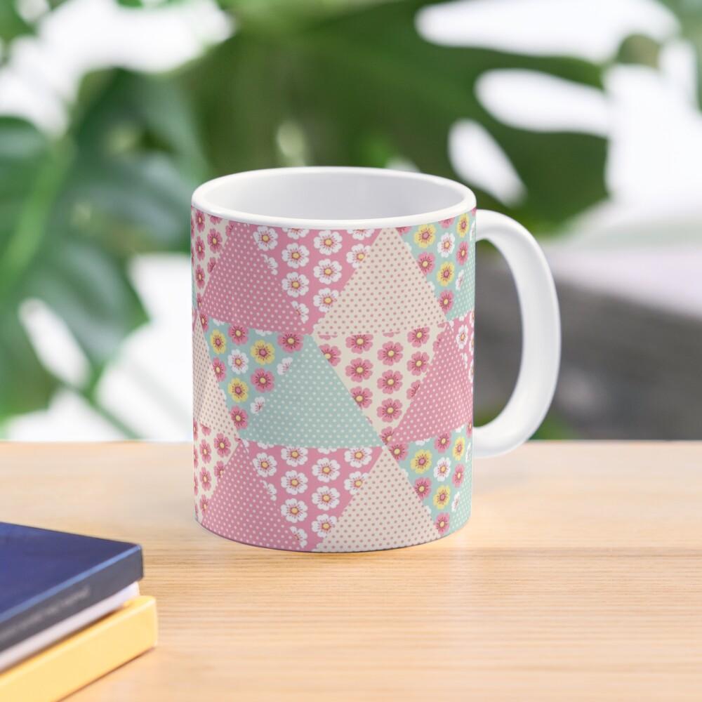 Spring flowers triangle patchwork quilt Mug