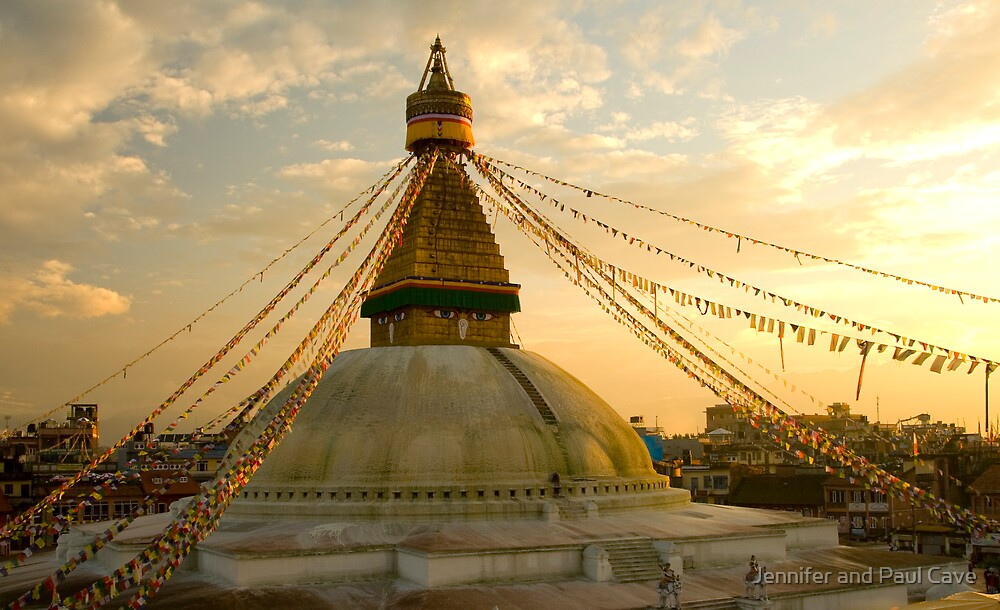 Boudhanath Sunset by Jennifer and Paul Cave