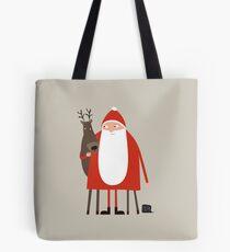 Santa and his reindeer / Weihnachtsmann mit Rentier Tote Bag