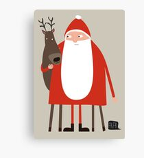 Santa and his reindeer / Weihnachtsmann mit Rentier Canvas Print