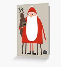 Santa and his reindeer / Weihnachtsmann mit Rentier Greeting Card