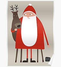 Santa and his reindeer / Weihnachtsmann mit Rentier Poster