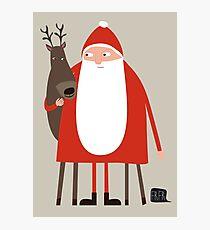 Santa and his reindeer / Weihnachtsmann mit Rentier Photographic Print