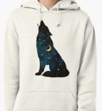 Wolf Silhouette with Stars and Moon Pullover Hoodie