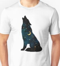 Wolf Silhouette with Stars and Moon T-Shirt