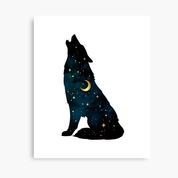 Wolf Silhouette with Stars and Moon Canvas Print
