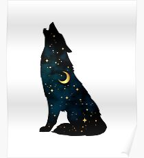 Wolf Silhouette with Stars and Moon Poster