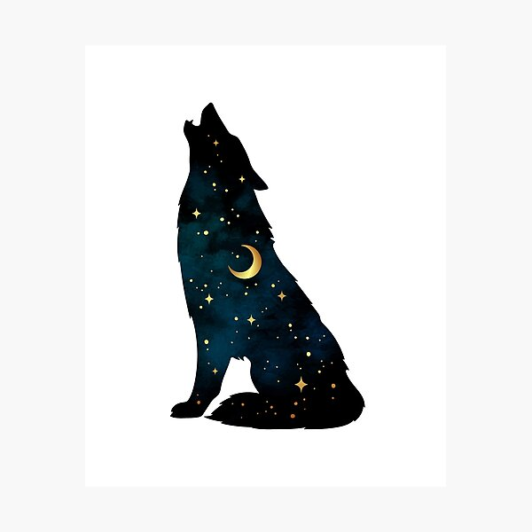 Wolf Silhouette with Stars and Moon Photographic Print