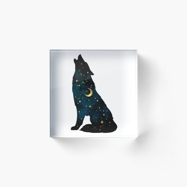 Wolf Silhouette with Stars and Moon Acrylic Block