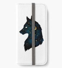 Vinilo o funda para iPhone Perfil de lobo con estrellas y luna