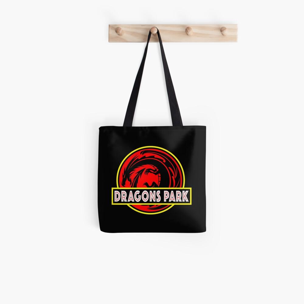 Dragons Park Fantasy Theme Park Logo Design Similar To The Hit Jurassic Park Dinosaurs Movie Logo Design Tote Bag By Luckdragongifts Redbubble