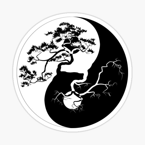 Yin and Yang Boho Trees Yin Yang Symbol for Balance and Harmony Sticker