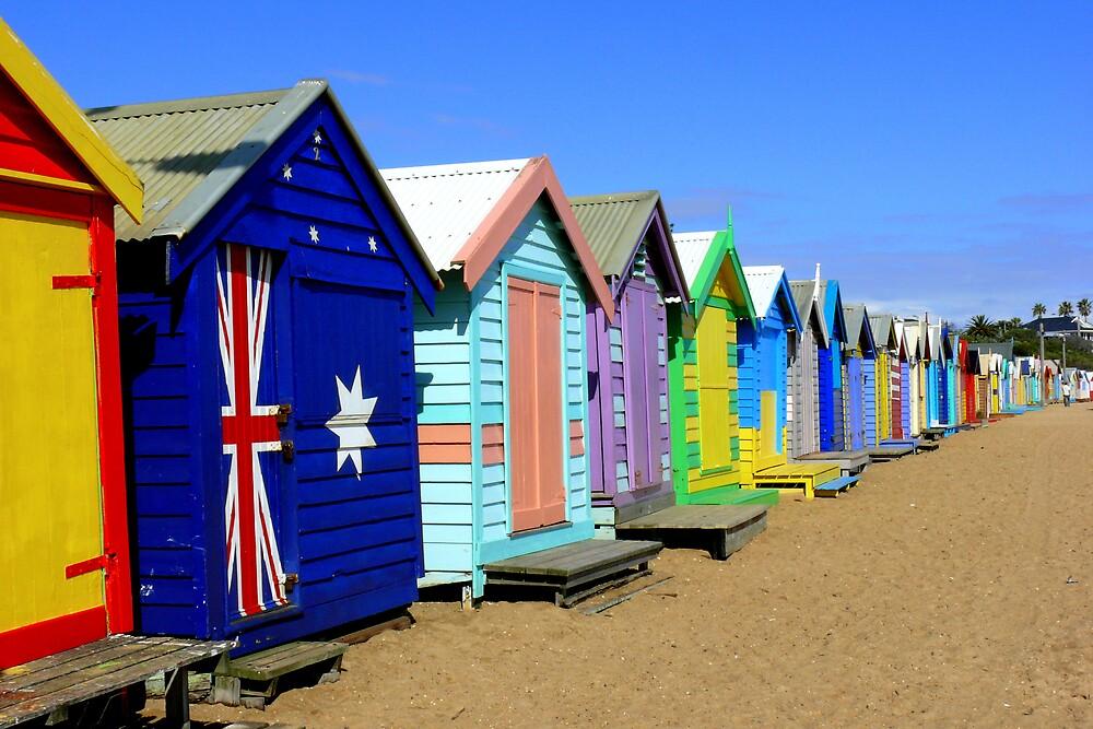 Brighton Beach Huts by Keith G. Hawley