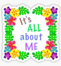 All About Me Text Colorful Hibiscus Art Sticker