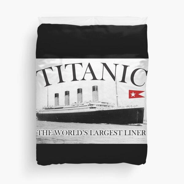 TITANIC, RMS Titanic, Cruise, Ship, Disaster. On Black. Duvet Cover