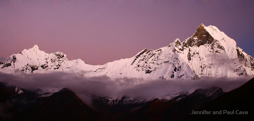Sunset over Macchapuchre (Annapurna Region, Nepal) by Jennifer and Paul Cave