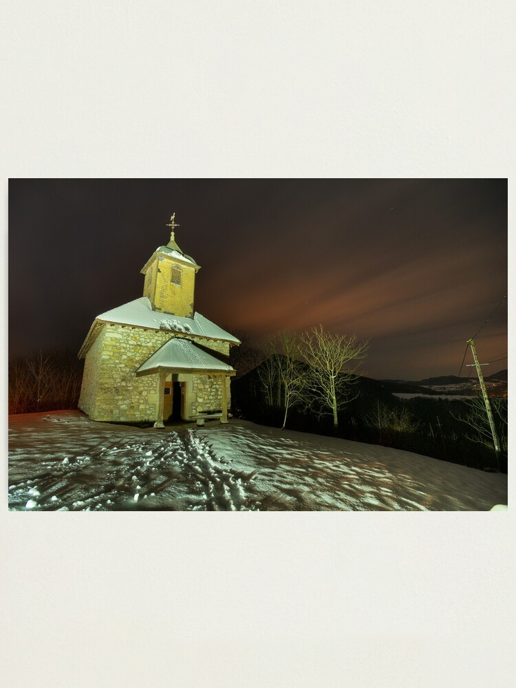 Alternate view of Saint Jean chapel illuminated by night Photographic Print