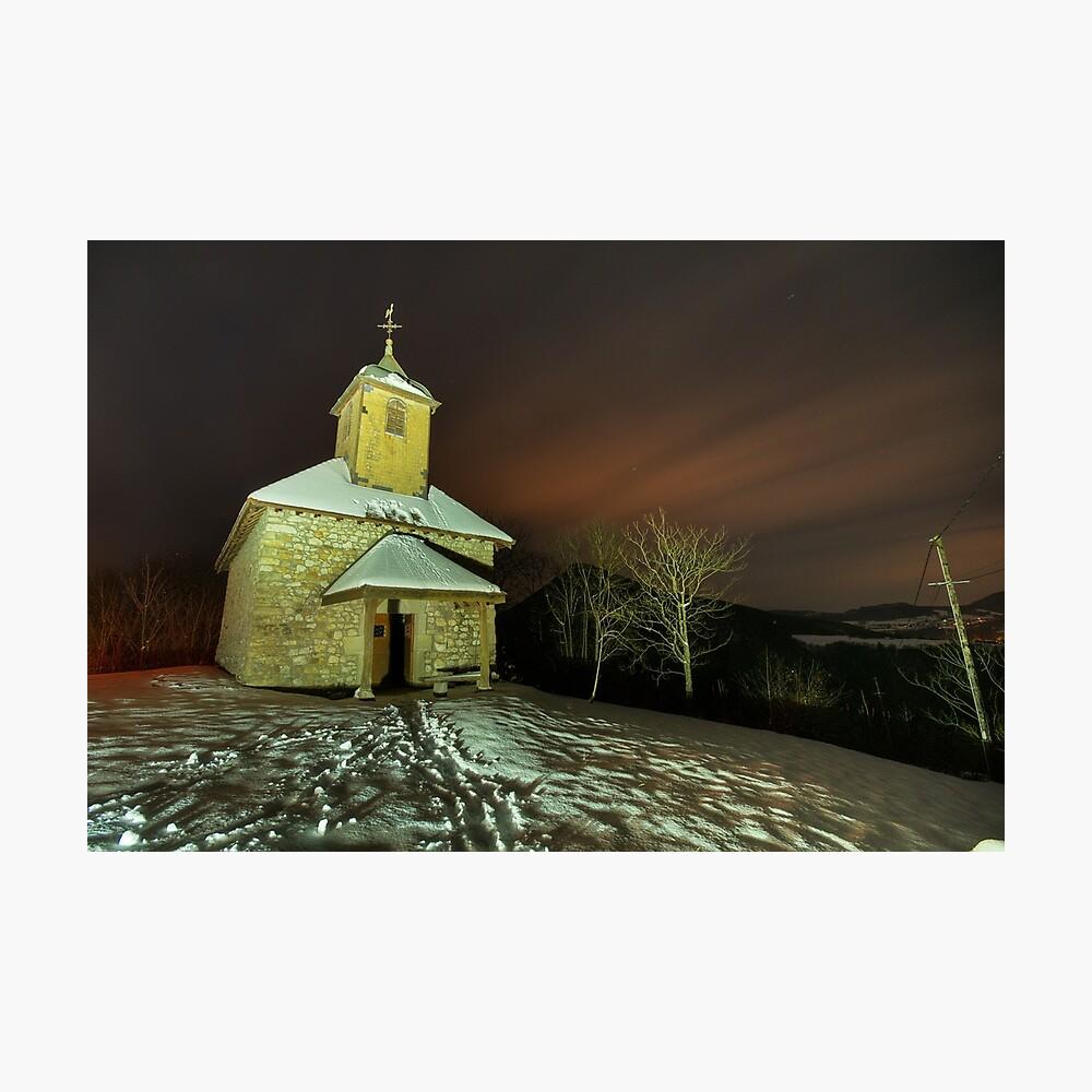 Saint Jean chapel illuminated by night Photographic Print