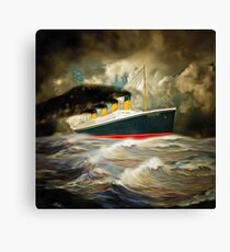 A digital painting of a 20th century Giant Ocean Liner Canvas Print