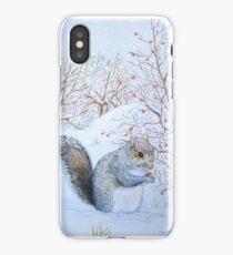 Cute grey squirrel snow scene wildlife art  iPhone Case/Skin