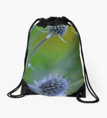 Steel Blue Sea Holly Drawstring Bag