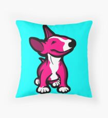 English Bull Terrier Pup Pink Throw Pillow