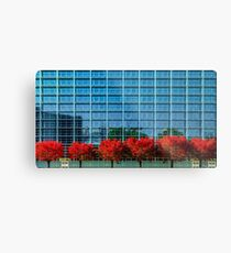European Parliament in Strasbourg, autumnal view with red trees, France Metal Print
