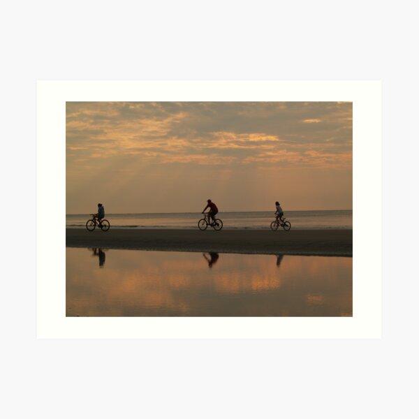 Bicycling at Dawn, Hunting Island Art Print