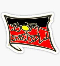 """Aboriginal Flag """"Born Deadly"""" Graffiti Black Sticker"""