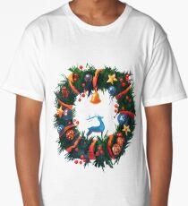 Christmas Wreath with a Deer  Long T-Shirt