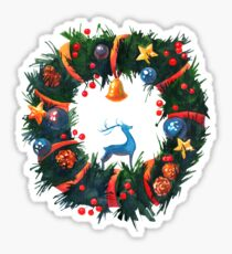 Christmas Wreath with a Deer  Sticker