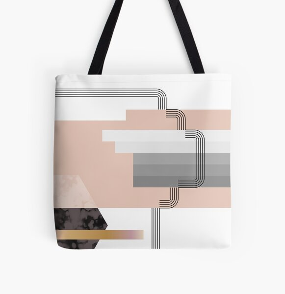Geometric Deco Lines Peach Stripe Gradient Texture All Over Print Tote Bag